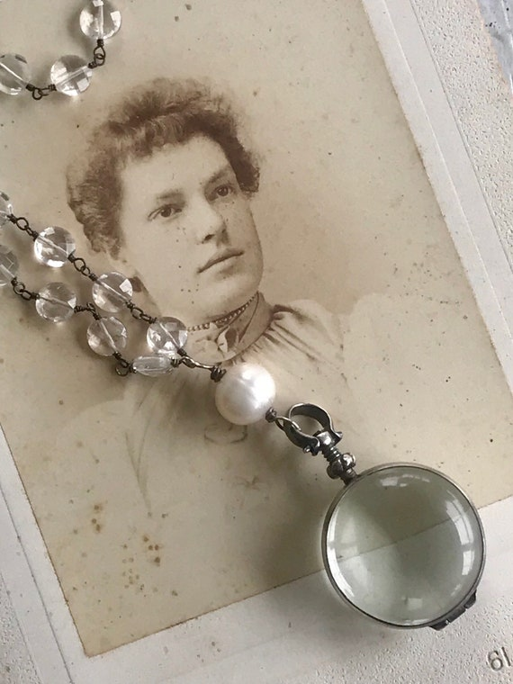 Camille.  Antiqued sterling locket suspended from crystal chain. Handmade and OOAK by ladeDAH! Jewelry.