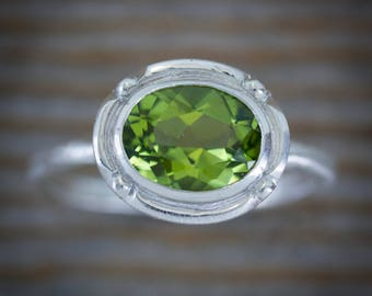 Oval Peridot Ring in Recycled Eco Sterling Silver, Antique Inspired Miligrain Bezel Setting, Handmade August Birthstone