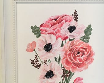 Pink Flower Bouquet Original Painting