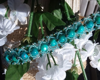 Teal and green beaded bracelet