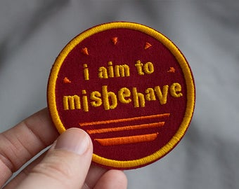 "Firefly Inspired I Aim to Misbehave 2.5"" Iron On Embroidered Patch"