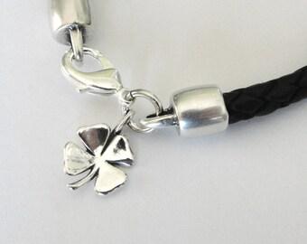 Four Leaf Clover Bracelet, Irish Leather bracelet, Lucky Bracelet, st patricks gift, gift for woman, ready to ship, gift for her