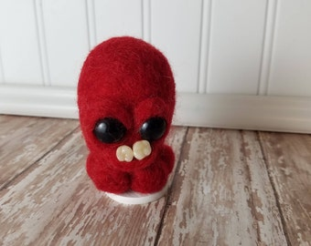 Adorable Needle Felted Wool Toothy Monster- Red