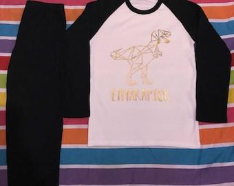 Personalised geo Dino Christmas pyjamas for Christmas Eve box
