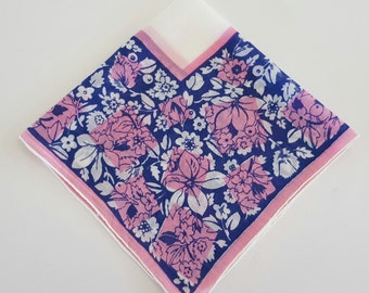 Vintage Ladies Handkerchief Blue, White, and Pink Floral Cotton Hankie