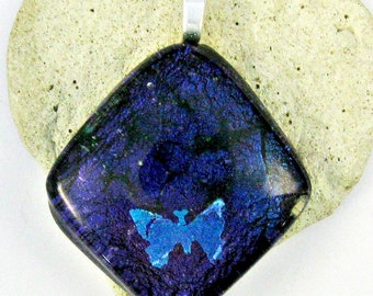 Fused Dichroic Glass Pendant - Blue Butterfly Pendant
