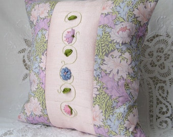 Pink floral pillow, Embroidered pillow, Silk ribbon embroidery, Silk and cotton cushion, 12 inch square pillow, bedroom decor