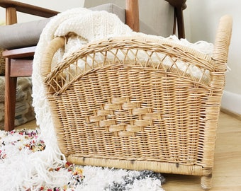 Vintage Wicker Magazine Holder / Blanket Basket