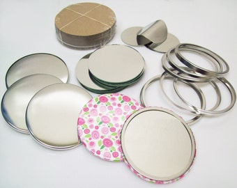 3 Inch Pocket Cosmetic Mirror Button Parts for Button Maker Machines - 100 Parts