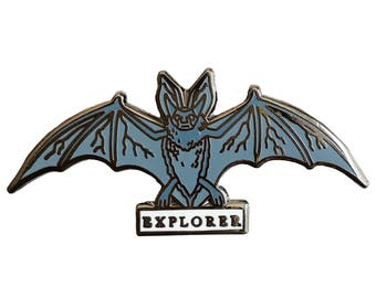 Enamel Pin - Bat - Explorer - Natural Values - Ryan Berkley Illustration - Pin - Cloisonne - Vampire