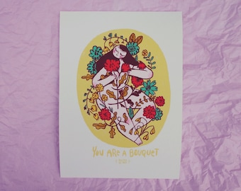 You Are A Bouquet  figure lady A5 GICLEE archival Print