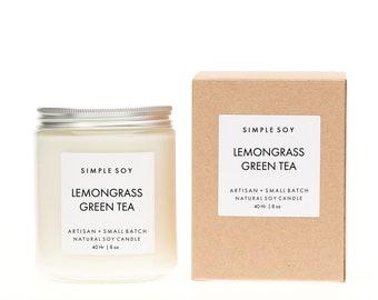 Lemongrass Green Tea Mantle Jar, Scented Soy Candle, 8 oz