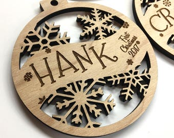 Hank - Customizable Baby's First Christmas Ornament - Engraved Birch Wood Ornament