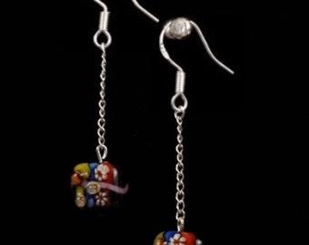 Lampwork Chained Dangle Cube Earrings Black earrings Long earrings Gift for her