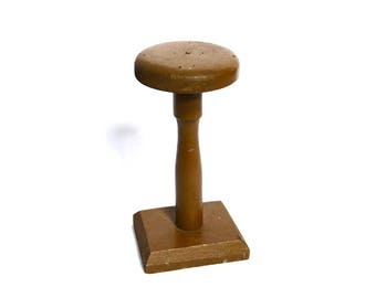 Fabulous French Antique Hat Display Stand Chunky Rustic Milliner Wooden Hat Holder