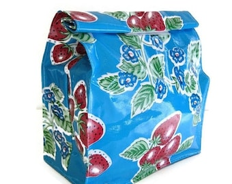ON SALE Bag,Lunch,Snack,Oilcloth,Blue,Strawberry,Floral,Reusable,Vintage,Classic,Print,Handmade,USA