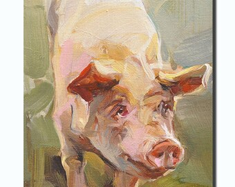 Original oil Painting /Animal oil painting /Christmas present/ Furniture decoration/pig Painting/ portrait  12CMX18CMby X.thmoas