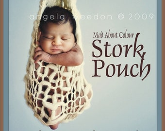 SALE Newborn Knit SToRK PoUCH Hanging Baby PHoTO PRoP Ivory Cream Unisex Neutral Sling BoY GiRL POD Choose Color Sack CReATE CoCOON Look