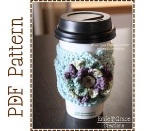 Cup Sleeve Crochet Pattern, Coffee Cozy, ADDISON - pdf 705