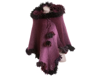 Pink poncho - Hooded poncho - Purple knit poncho with hood