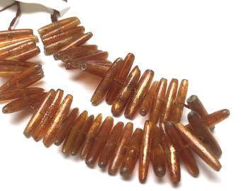 Shell Rice Beads. Antique Gold. Wedding. Bridal. FWP. Sienna. 12mm x 2mm. 4 Inch Strand.