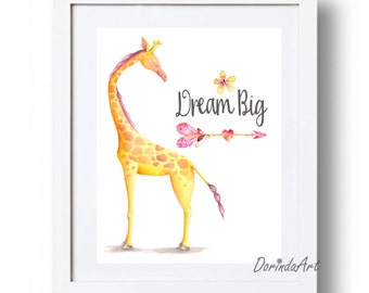 Dream big printable nursery art Watercolor giraffe print Giraffe printable Pink and yellow nursery decor Little girl bedroom decor DOWNLOAD