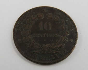 France 1876 A 10 Centimes Coin.