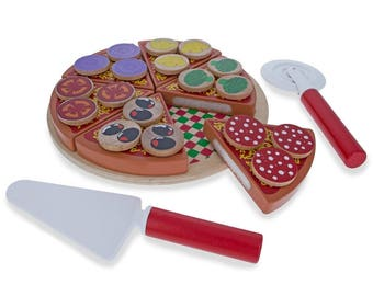 Set of 27 Wooden Pieces Make a Pizza with Toppings & Kitchen Tools