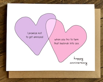 Funny Love Card - Anniversary Card - Card for Husband - Funny Anniversary Card - Backrub.