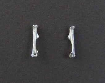 Sterling Silver Bone Stud Earrings // cast bone jewelry // gifts for her // post earrings