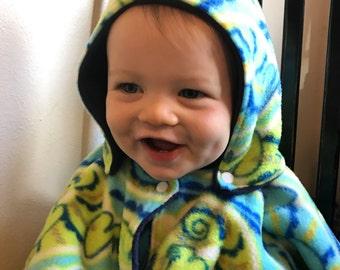 Reversible, Easy Snap Kids Poncho - Fleece