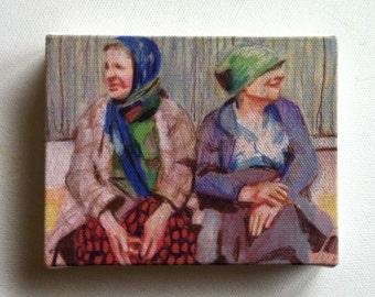 Stories / Tiny canvas print  / Folk art print