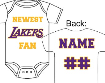 Newest LA Lakers Fan Custom Made Personalized Basketball Gerber Onesie Jersey Optional Socks Hat Choose Name & Number Great Baby Gift