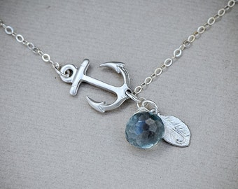 Personalized Sideways Anchor Necklace, SILVER Anchor Jewelry Personalized Initial Disc Gemstone Navy Necklace, Nautical Jewelry
