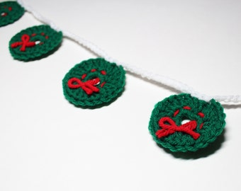 Christmas  Garland, Holiday Wreath, Crochet Bunting, Xmas Party Decoration, Wall Hanging, Home Decor, Wreath Garland, Christmas Garland