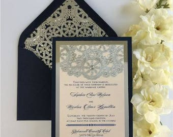 Navy Blue, Blush and Silver with Rhinestones