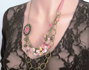 Necklace beads fabric and Medallion