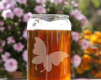 Whimsical Butterfly Customizable Etched Beer Can Glass Glassware Gift