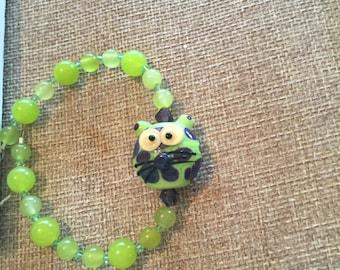 Lampwork kitty bracelet