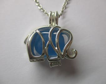 GENUINE SEA GLASS Necklace Sterling Silver Elephant Locket Rare Blue Aqua Gem Surf Tumbled Natural Beach Seaglass Pendant Jewelry  N 806