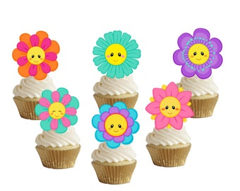 Flowers cupcake toppers