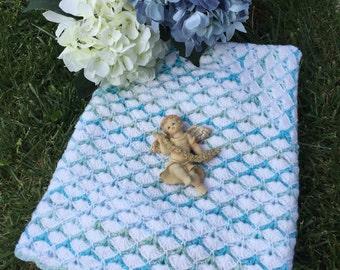 Sale Baby  Blanket, knit baby  blanket , aqua baby  blanket ,shell baby blanket  newborn baby blanket baby boy blanket