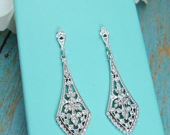Art Deco Earrings, cubic zirconia earrings, vintage wedding earrings, bridal jewelry, wedding earrings, Anabella Earrings