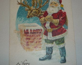 Santa Claus Standing Next to Chimney With Reindeer Vintage Christmas Postcard