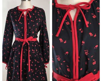 80s Black and Red Floral Long Sleeve Belted Secretary Dress , Size Large