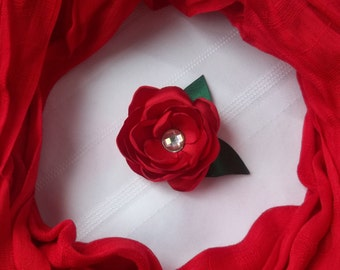 Red Rose Hair Clip, Red Flower Hair Bow, Burnt Edge Flower, Wedding Hair Clip, Satin Rose Hair Clip, Red Christmas Bow, Red Formal Dress