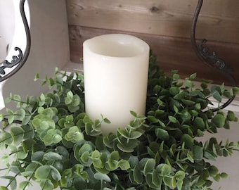 Eucalyptus Candle Ring | Eucalyptus Wreath |Farmhouse Wreath | Farmhouse Gifts
