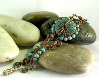 Aztec Sunrise Turquoise Bracelet -  Mayan - Egyptian - Native American