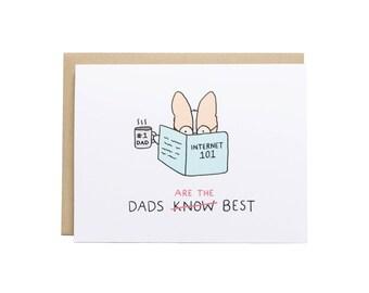 Meilleur papa carte, carte d'anniversaire papa, Corgi carte, carte de chien, chien papa, fête des pères, anniversaire de père, Corgi papa, papa drôle carte
