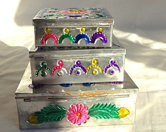 Handcrafted embossed nested tin jewelry trinket boxes colorful floral rustic distressed vintage India